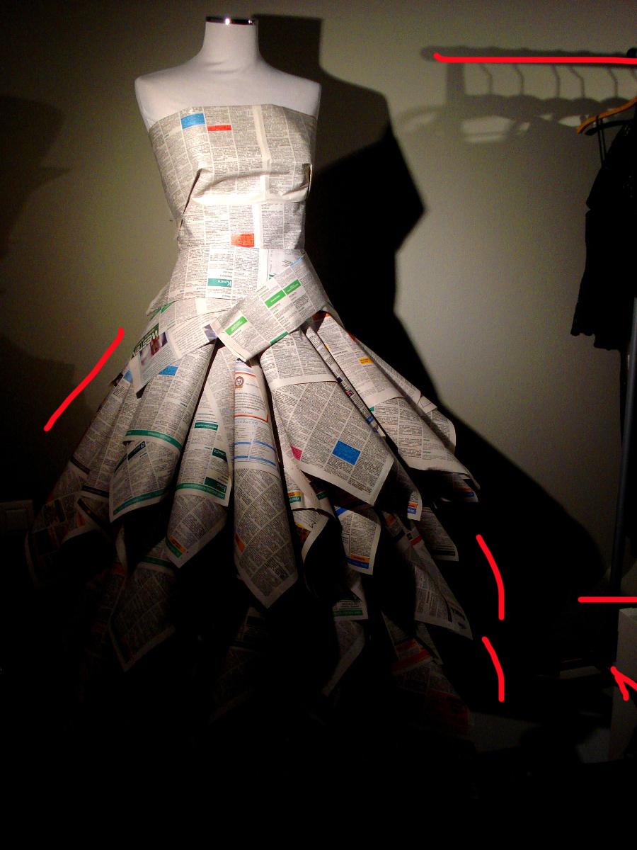 newspaper dress-athens window display